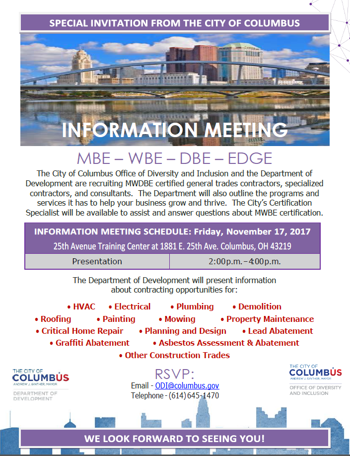 City Of Columbus Office Of Diversity Inclusion Learn About